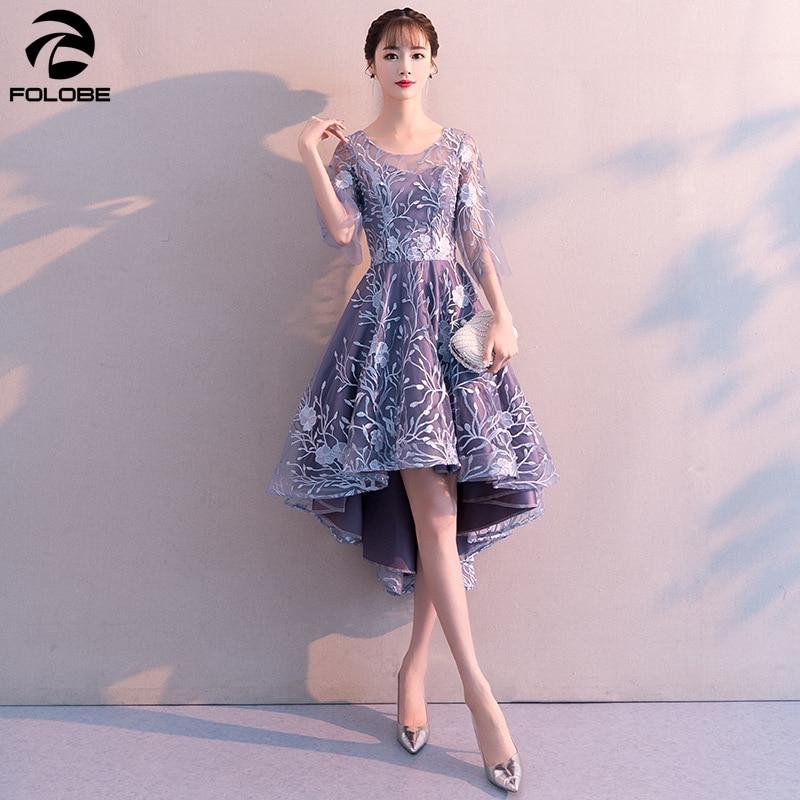Folobe 2020 primavera elegante vestido de festa oi lo luz azul vestidos formais meia manga bordado banquete vestidos femininos roupas