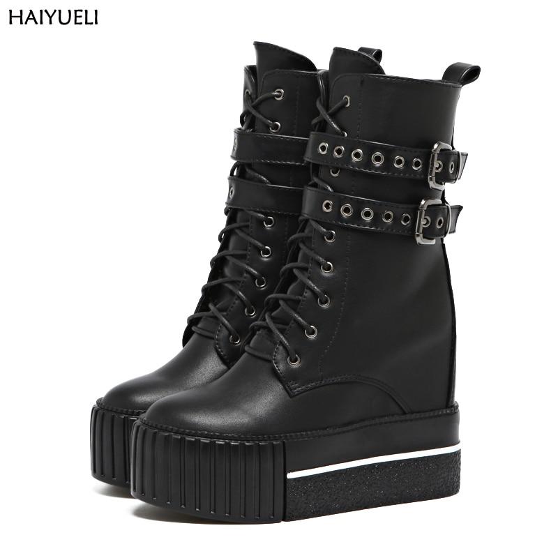 Womens High Heel Boots Punk Motorcycle Boots Women Black Platform Wedge Shoes Women's High Boots Winter Shoes For Women