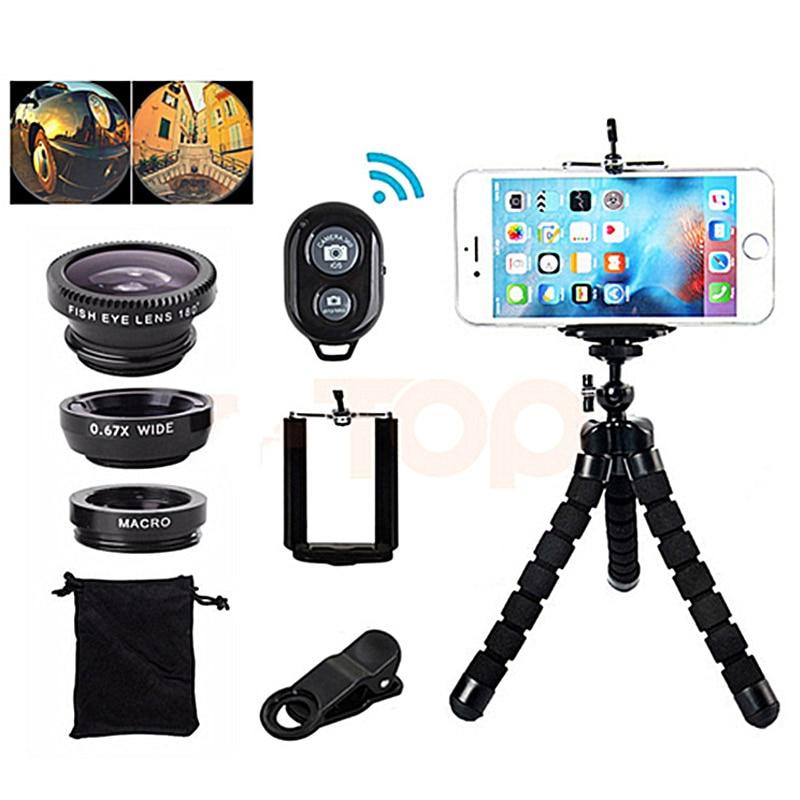 Wide Angle Macro Fisheye Lens Camera Mobile Phone Lenses Fish Eye Lentes Bluetooth Remote Control Stand Octopus Tripod