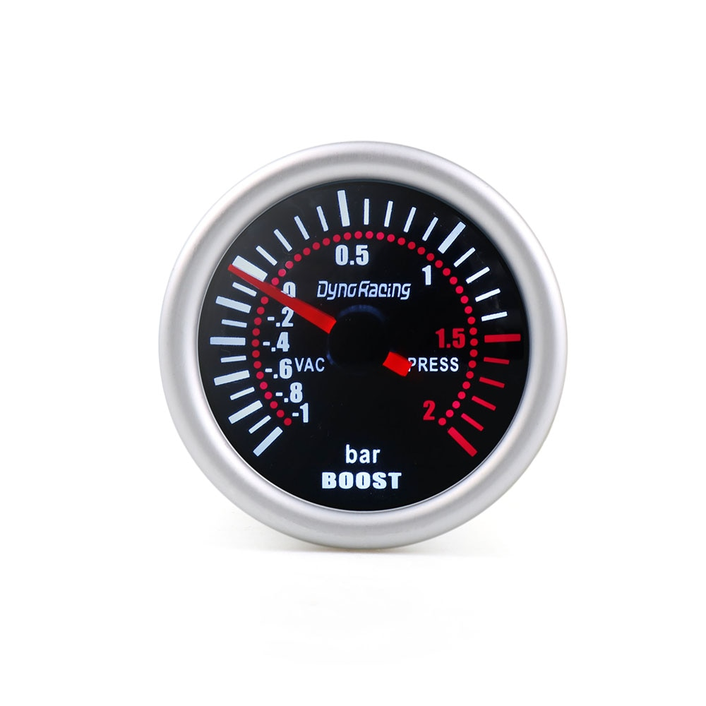 "Dynoracing 2"" 52mm Universal 12V LED Smoke Len -1~0~2BAR Turbo Boost Gauge Meter / Turbo Boost Meter TT101310"
