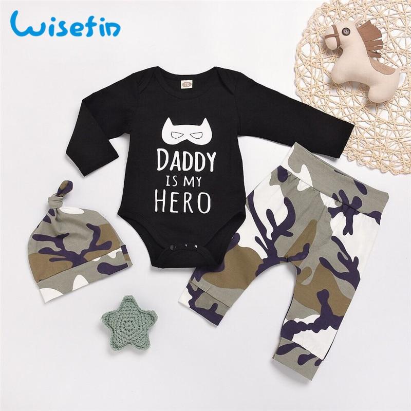 Wisefin תינוק ילד מלא תלבושות Camo יילוד בגדי סט לילד אבא ארוך שרוול סתיו פעוט תינוק ילד בגדים עם כובע