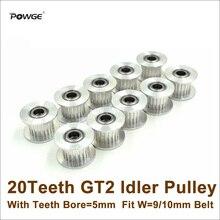 POWGE 10 pièces 20 dents 2GT poulie tendeur alésage 5mm avec dents pour W = 9/10mm GT2 2M ceinture 20 T 20 dents GT2 poulie Passive avec roulement
