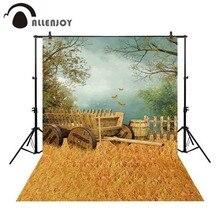 Allenjoy sfondo per studio fotografico di grano dorato campo di volo della farfalla vecchio carrello di legno botte di vino sfondo photobooth