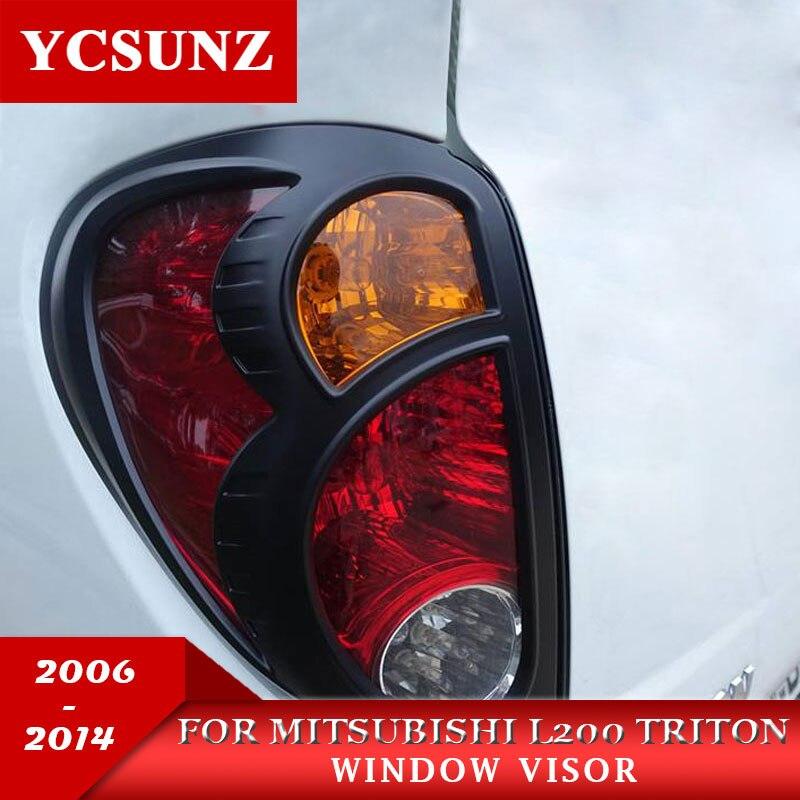 Capa de luz traseira preta para mitsubishi l200 triton, 2006-2014, capa decorativa para mitsubishi l200 captador ycz