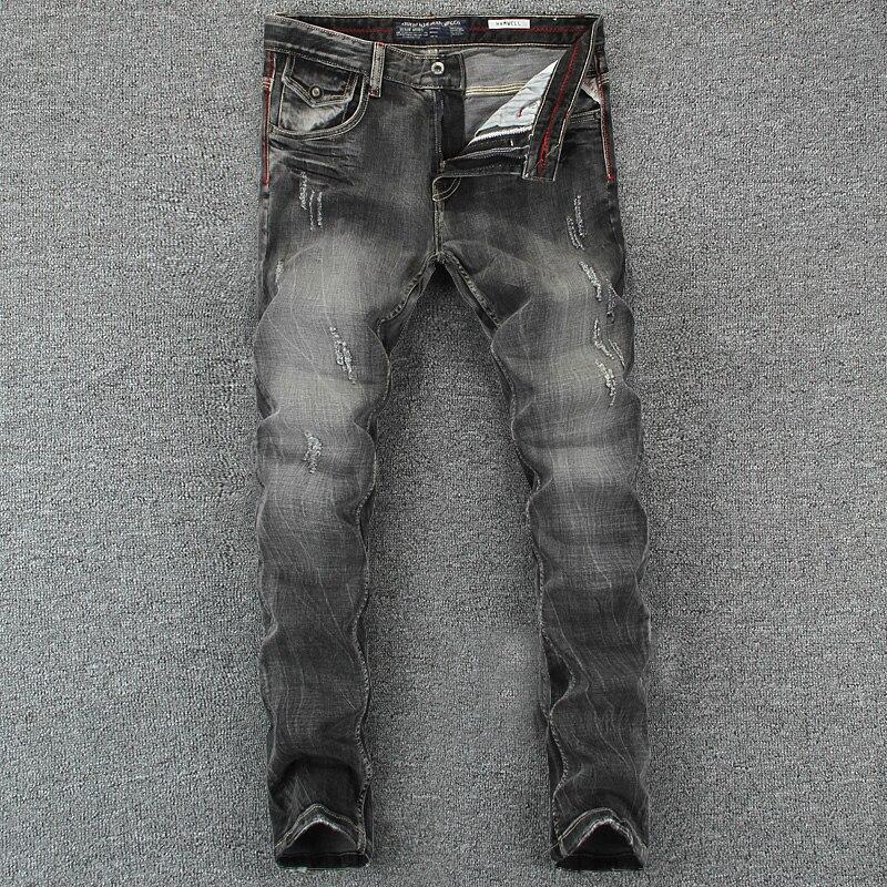 Итальянские винтажные Дизайнерские мужские джинсы черного и серого цвета, облегающие рваные джинсы Homme, 100% хлопковые джинсовые штаны, брендовые байкерские джинсы для мужчин
