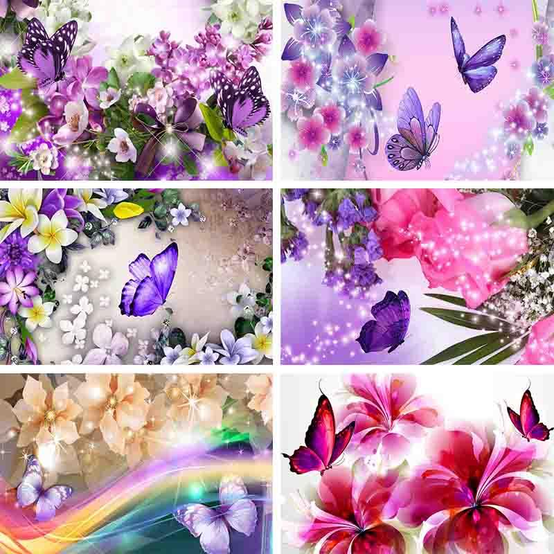 5D DIY алмазная живопись бабочки и цветы, алмазная вышивка радуги, полная дрель, круглая Алмазная мозаика, украшение, домашние подарки