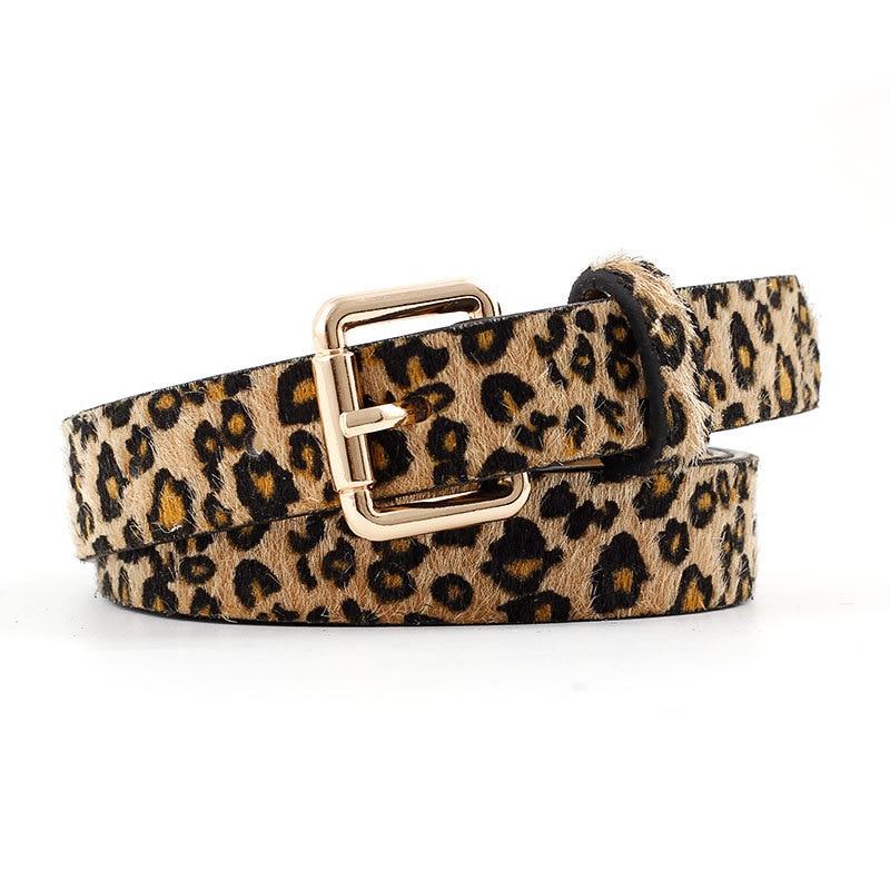 OLOME Vintage Animal Leopard Leather Belt Women Black White Gold Buckle Female Waist Jeans Cheetah Belts