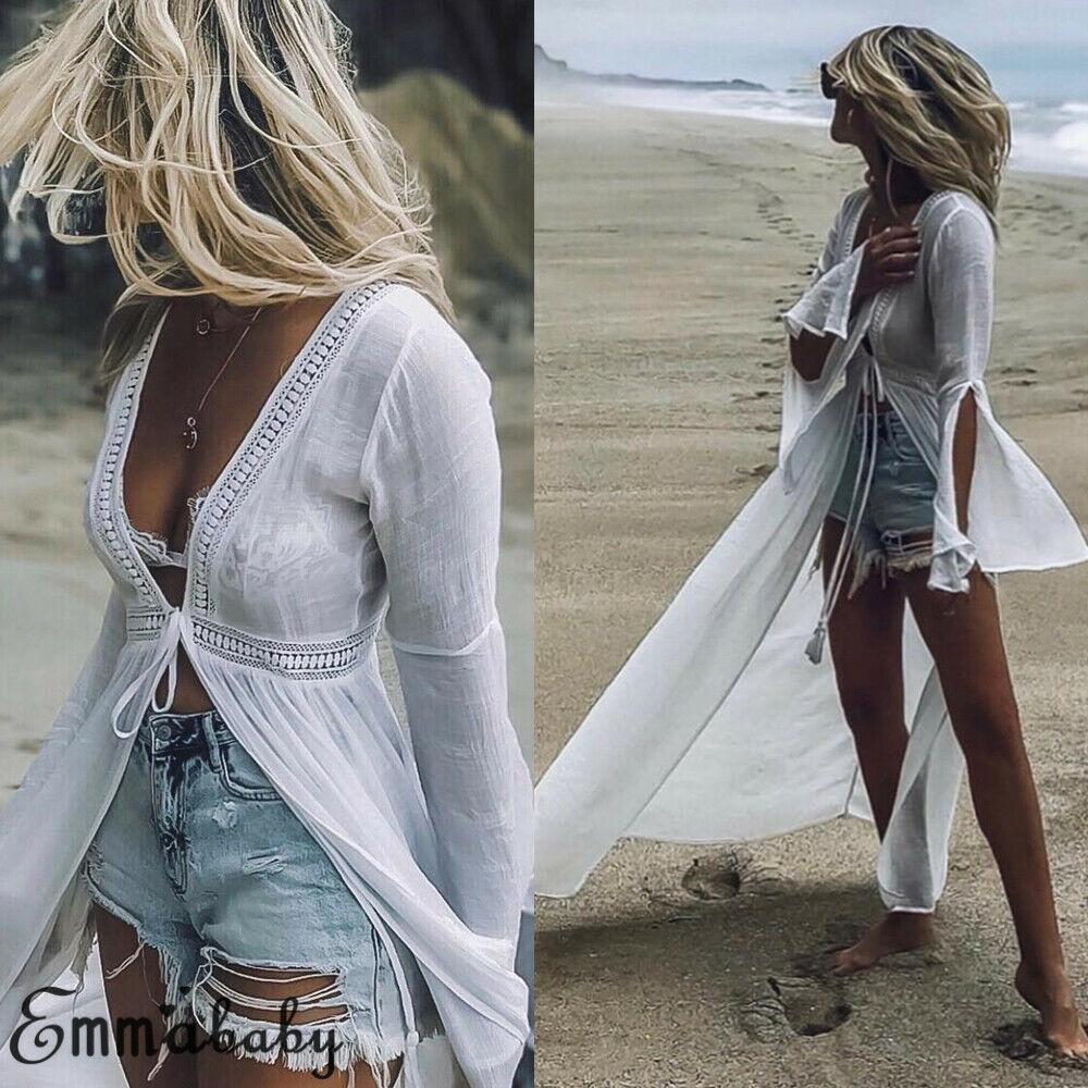 Mulheres quentes cobrir sólido chiffon biquíni vintage manga longa beachwear banho casual fahsion praia casual borla verão branco