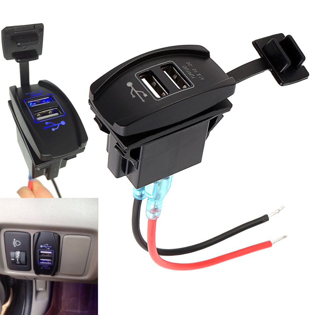 Auto Dual USB Power Charger Carling ARB Rocker Switch LED Light Car Boat 12V 24V 3.1A CSL2017