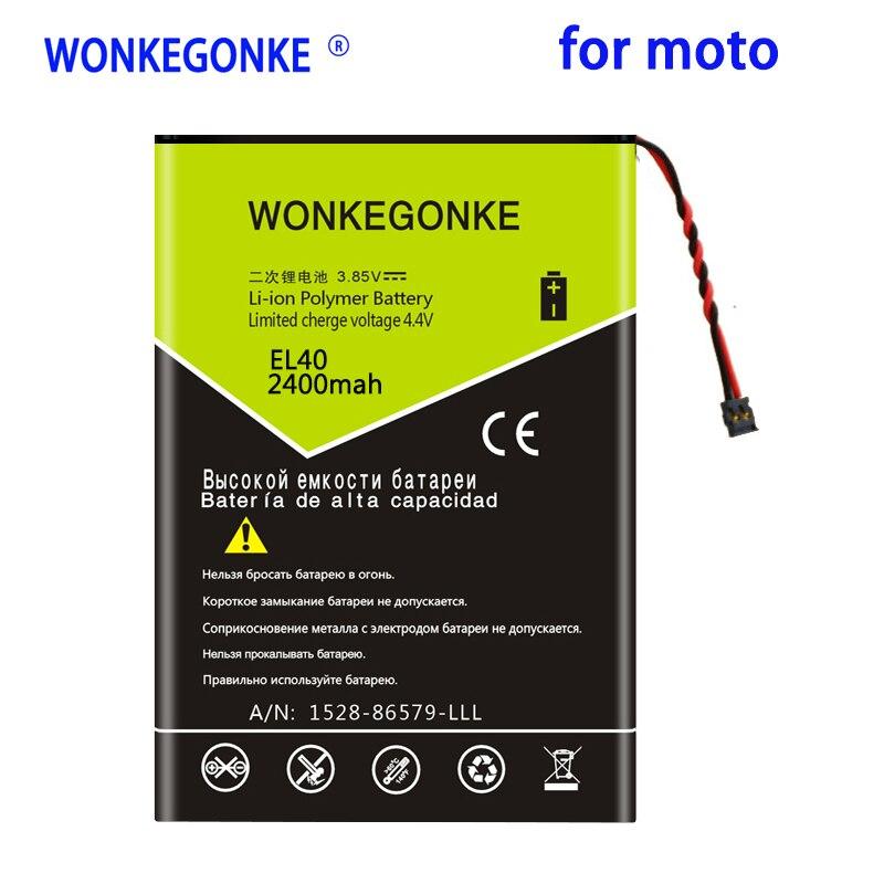 Batería WONKEGONKE EL40 de 2400mah para Motorola Moto E XT1019 XT830C Xt1021,...
