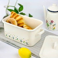 Enamel Food Storage Box Bread Box Household Food Storage Box With Cover Rectangular Large