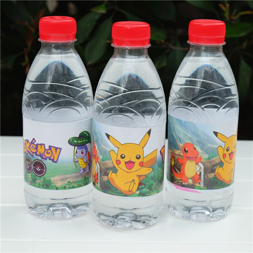 12 Uds dibujos animados Anime pokemon go Pikachu botella de agua etiqueta caramelo bar niños suministros de fiesta de cumpleaños baby shower fiesta favor