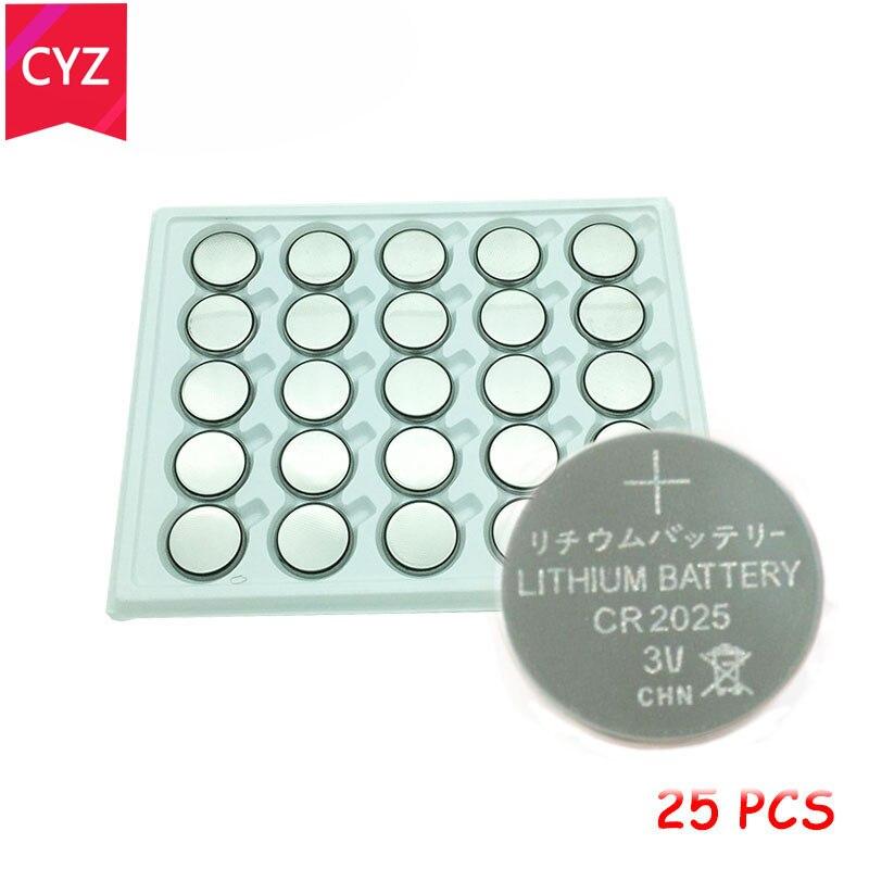 25 pçs/lote CR2025 3V Botão de Célula tipo Moeda de lítio Bateria de Iões de lítio ECR2025 DL2025 BR2025 KL2025 L2025 Relógios, relógios brinquedos frete grátis