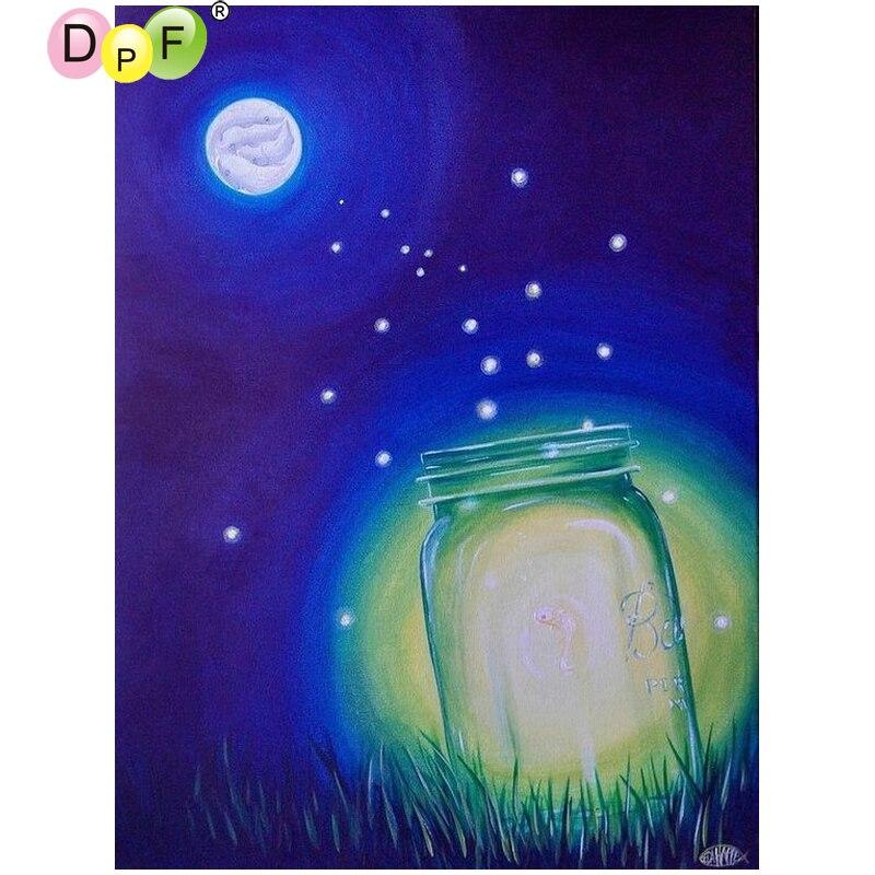 DPF bricolage la haoyue luciole 5D   Carré complet de peinture en diamant, point de croix, décor de maison, kit de mosaïque en diamant brodée, artisanat