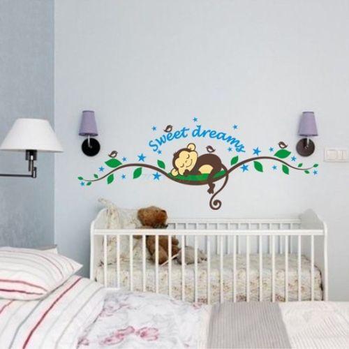 Cheeky Monkey sweet dream, съемные настенные наклейки, декорация для детской комнаты