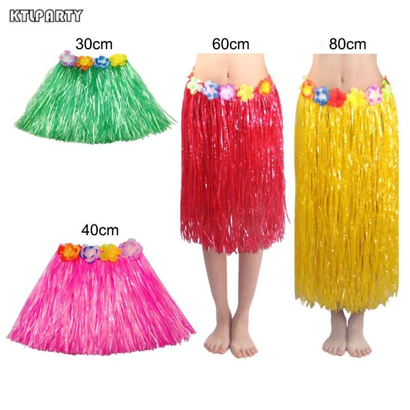 30/40/60/80cm fibras plásticas niñas mujer falda hawaiana Hula disfraz de hierba falda de flores baile Hula vestido fiesta Hawaii playa