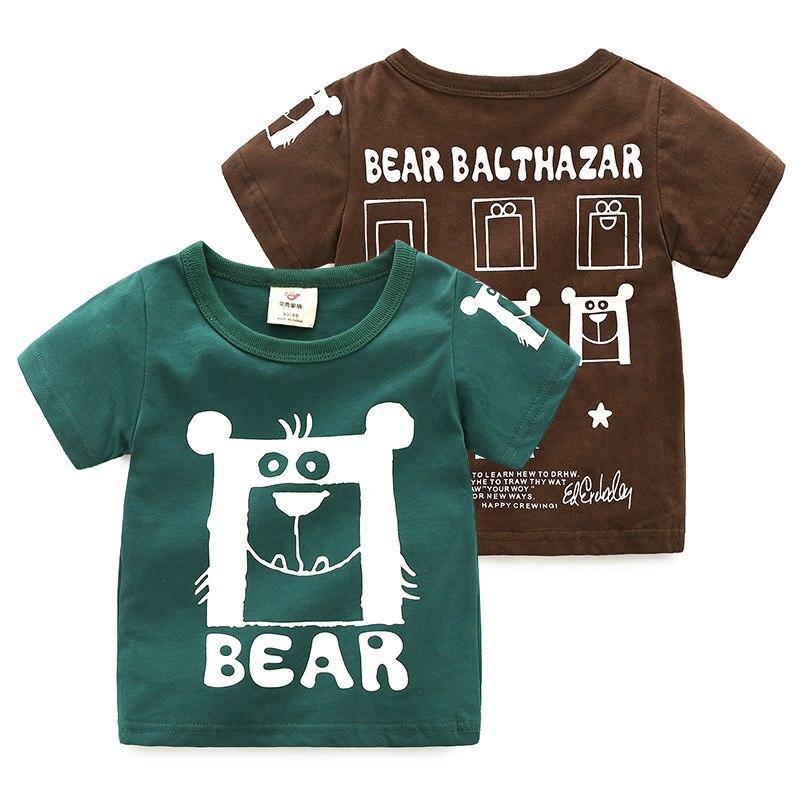 2018 Summer Fashion New Design 2 3 4 6 8 10 Years Children'S Clothing Short Sleeve Cartoon Bear Cotton T Shirts For Kids Boy