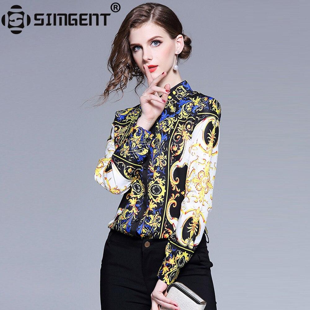 Женская офисная блузка Simgent, повседневная элегантная приталенная блузка с длинным рукавом и отложным воротником, женская одежда, SG812077