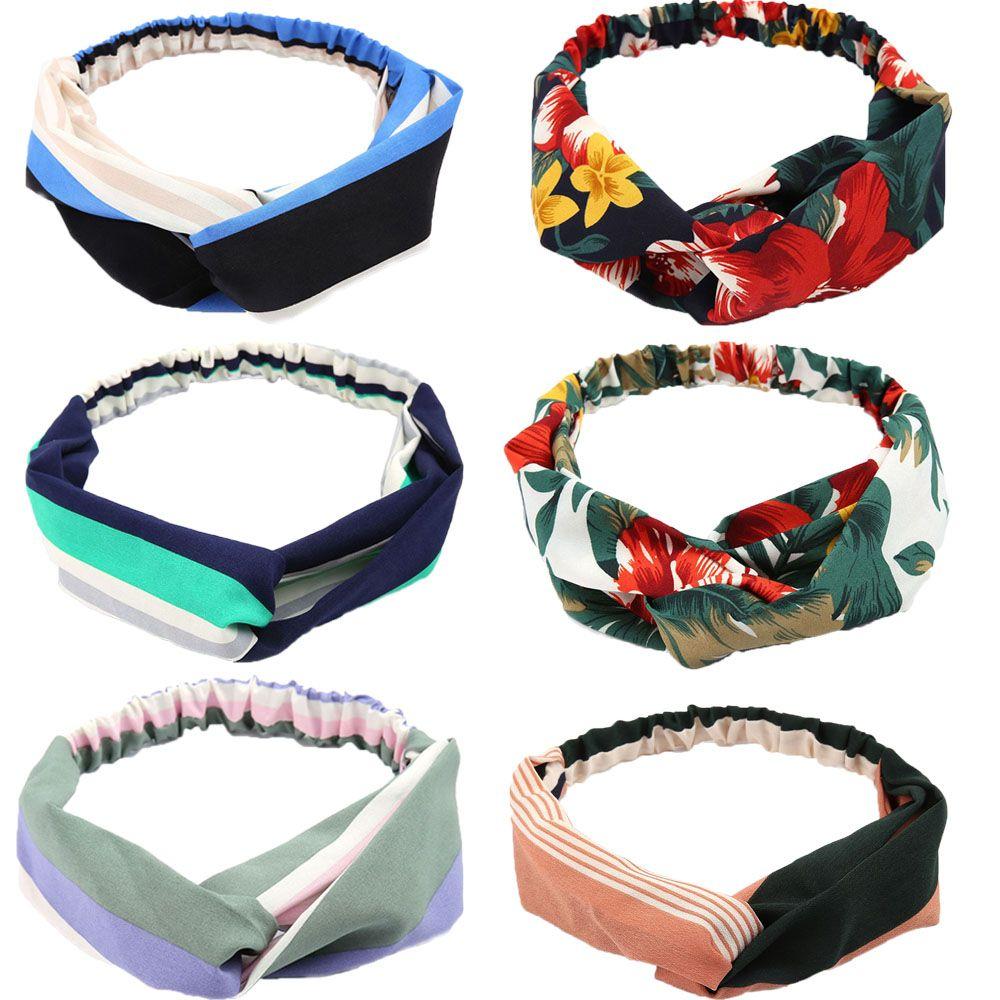 Nuevas diademas de estilo bohemio de verano, diademas estampadas para mujeres, turbante anudado de Cruz retro, Bandanas, accesorios para el cabello para mujeres
