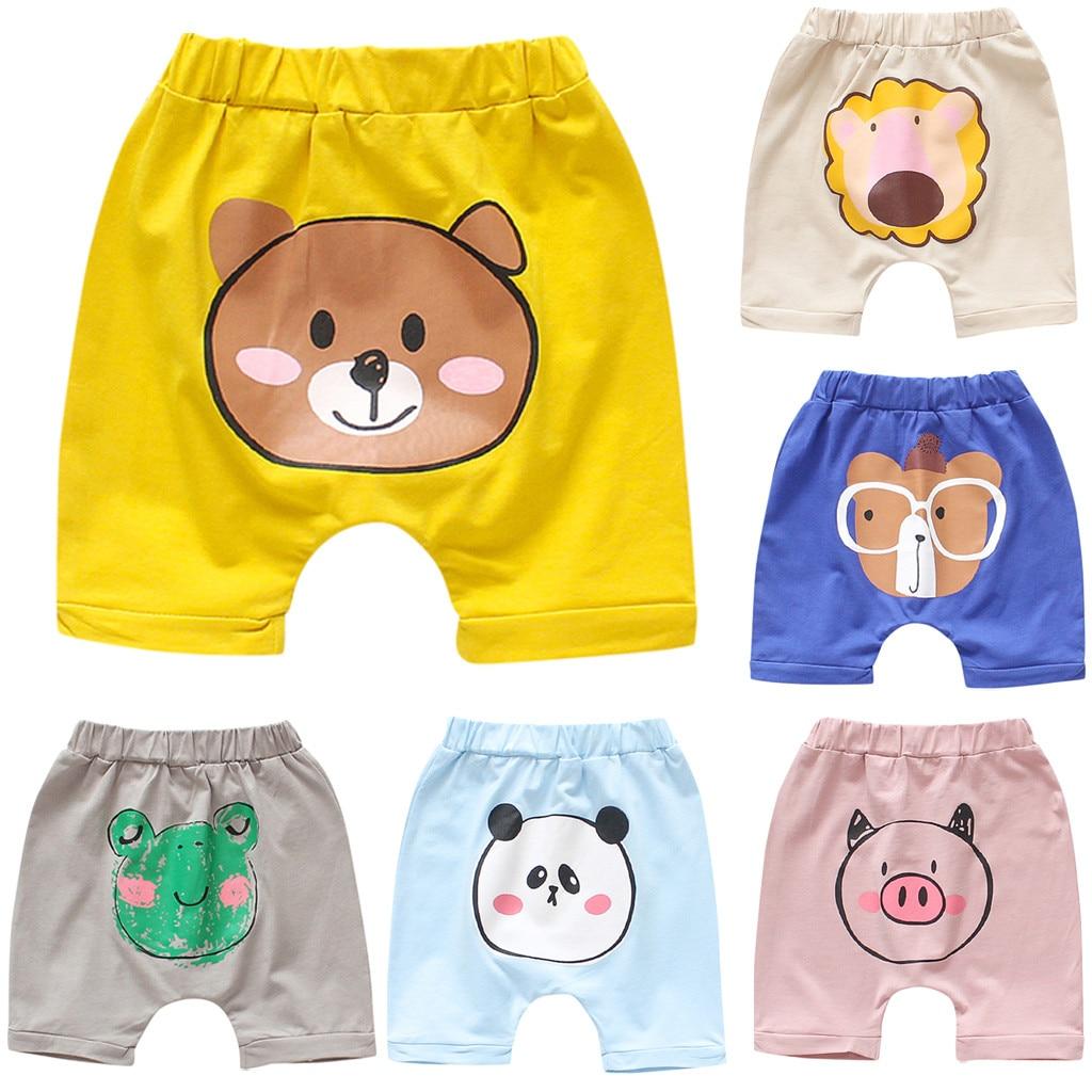 Ropa de moda de verano 2019 para bebés, pantalones cortos para niñas, niños pequeños, bebés, estampado de animales caricatura, pantalones cortos elásticos informales para verano