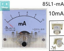 1PCS 85L1-mA 10mA AC White Plastic Shell Analog Panel AMP Meter Ammeter