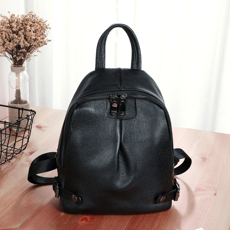 BAQI Women Backpack School Bag Girls 2019 Fashion Genuine Leather Cowhide Shoulder Bags Travel Casual Bagpack Mochila