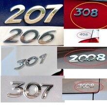 HARBLL araba Sticker 3D gümüş arka bagaj amblemi rozet çıkartması için Peugeot 206 207 307 308 301 2008 3008 408 508 406 araba Styling