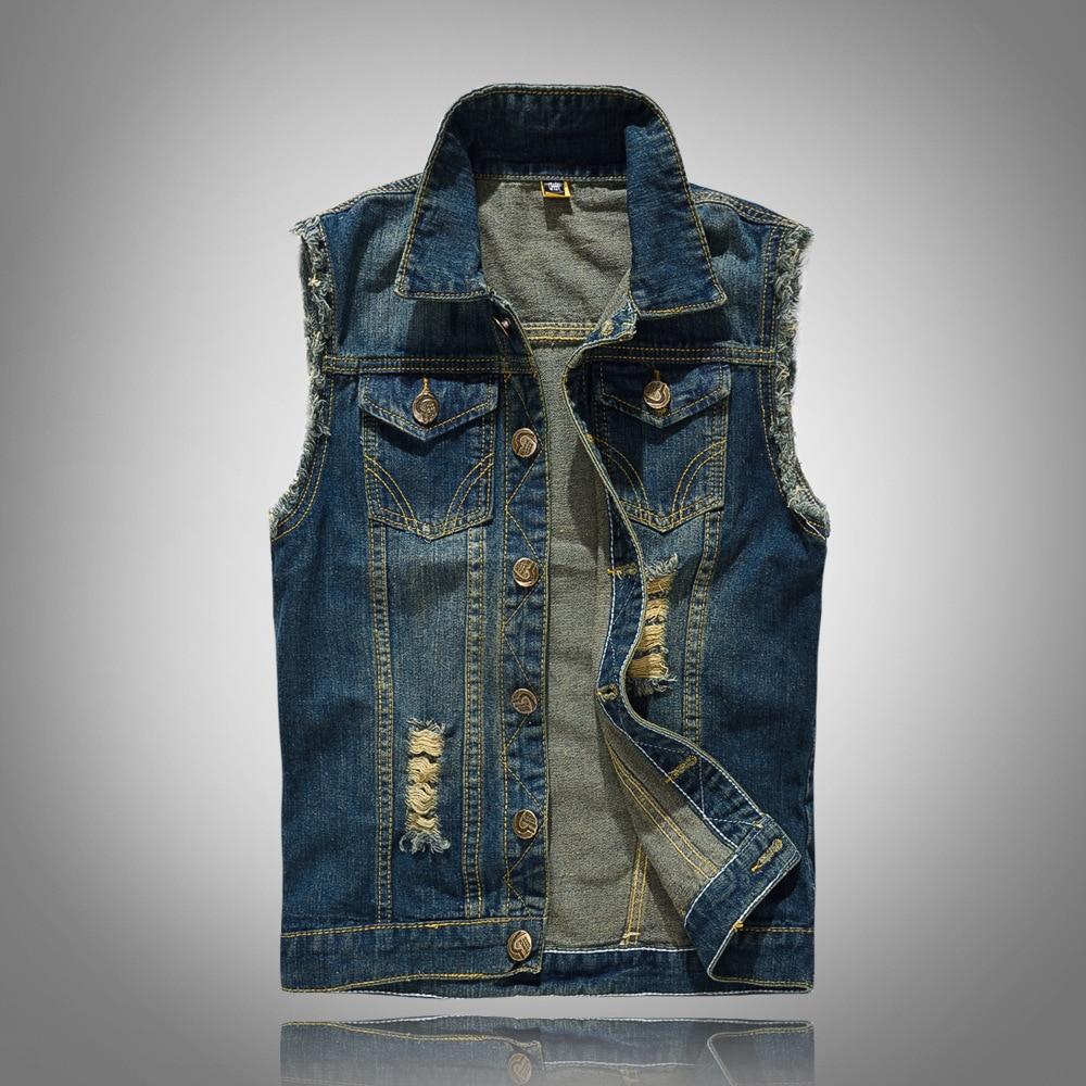 2019 New high-grade Denim cotton Casual Vest Men's Jacket Sleeveless Waistcoat Jean Coat Ripped Slim Fit Male Cowboy clothes 6XL