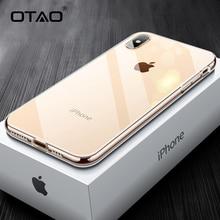 OTAO de nueva caja del teléfono para iPhone 7 7 6 6s Plus transparente carcasa trasera de vidrio para iPhone XS MAX XR X 7Plus borde suave TPU Coque