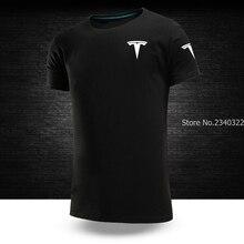Camiseta de Color liso con cuello redondo de manga corta tesla para hombre, camisetas informales de verano S ~ talla XXXL