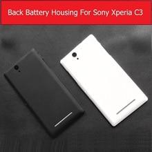 Boîtier de porte de batterie arrière de couleur noir et blanc pour Sony Xperia C3 S55T S55U D2533 boîtier de couverture arrière avec bouton dalimentation + 1x film