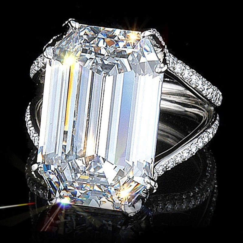 ¡Nuevo! Utimtree de anillo de bodas de plata 925, joyería Plata de Ley austriaca, anillos de compromiso de cristal grandes para mujer, anillos para mujer, Bisutería
