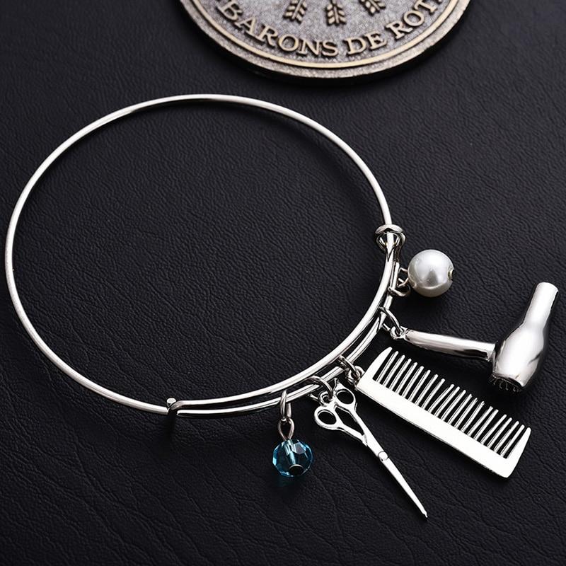 1 pc criativo bangles barbeiro secador de cabelo/tesoura/pente pingentes pulseiras jóias cabeleireiro presente pulseira circlet