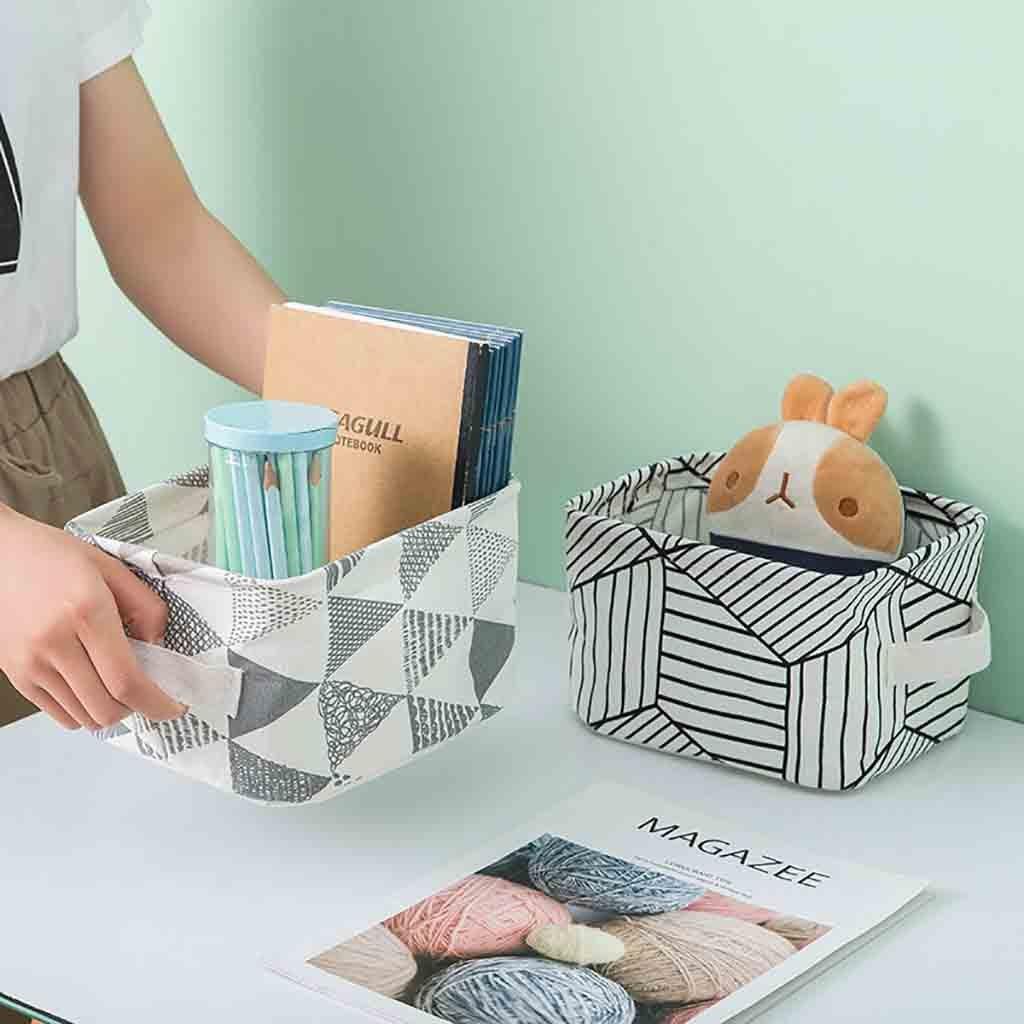 Cesta De tela para el hogar, caja De Almacenamiento De adornos, caja De lino para cosméticos, escritorio, papelería, Cesta De Almacenamiento