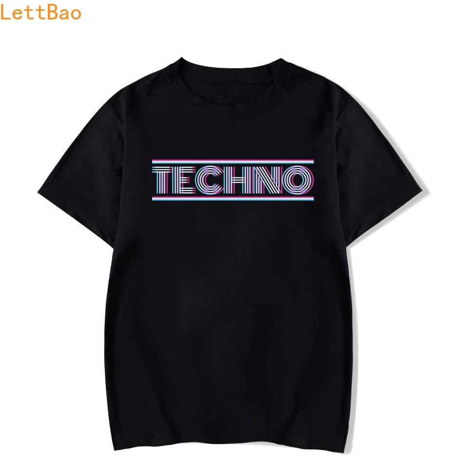 Techno T-Shirt Tesco Funny Dance DJ Music Underground Black Rave Men Fashion Short Sleeve O-Neck Cotton vogue Print rock T Shirt