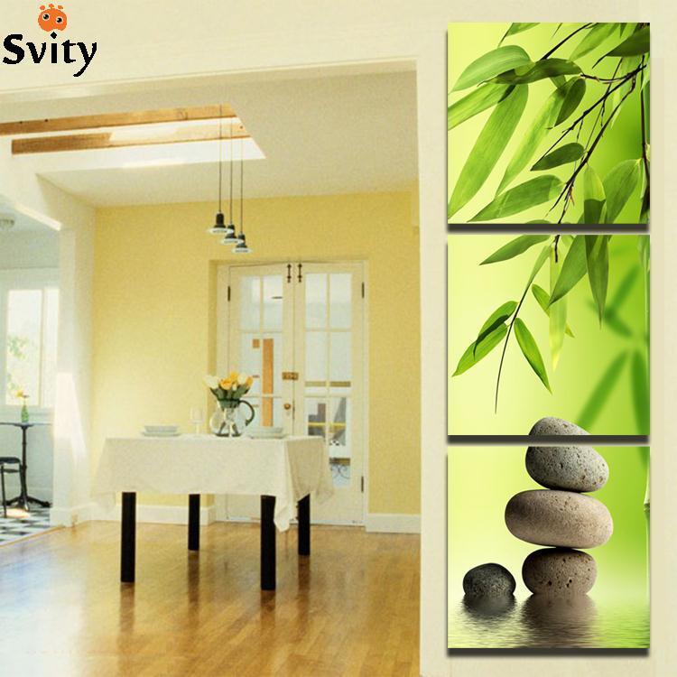 Lienzo de bambú de SVITY, 3 uds., piedra de Spa Modular, pintura artística moderna para pared, imágenes impresas en HD, decoración para sala de estar, póster F055