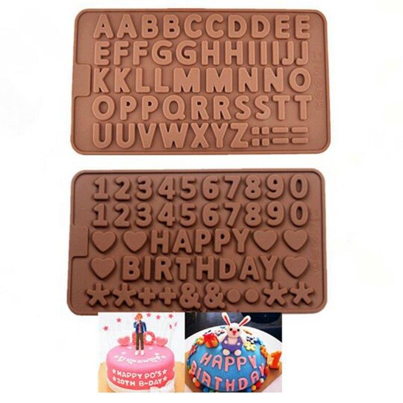 26 moldes de letra de alfabeto inglés para pastel, Chocolate, Fondant, galletas, molde de silicona, moldes decorativos para tartas de boda, DIY herramientas para hornear