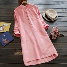 Robe femmes vestidos rétro à manches longues doux et confortable décontracté bouton ample hauts Blouse chemise robe ropa mujer L50