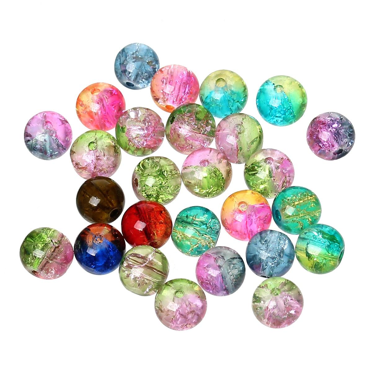 500 Uds. Doreen Box cuentas redondas de vidrio craquelado de 8mm de diámetro. Mezclado aleatoriamente para la fabricación de joyas de pulseras DIY, agujero 1,2mm