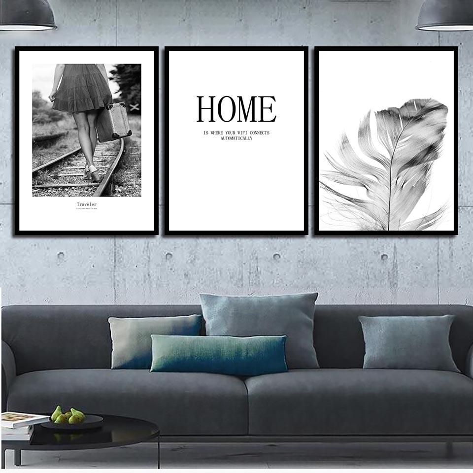 Estilo nórdico negro blanco pluma ferrocarril chica viajero cartel cuadro Modular arte de pared lienzo impreso cuadro con citas decoración del hogar