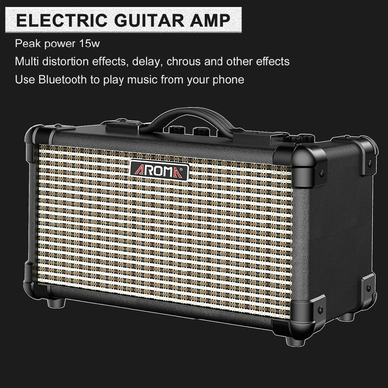 AROMA TM-15A ELECTRIC Guitar Amplifier 15W Portable Amp with Microphone Interface Built-in Rechargeable Battery and Bluetooth enlarge