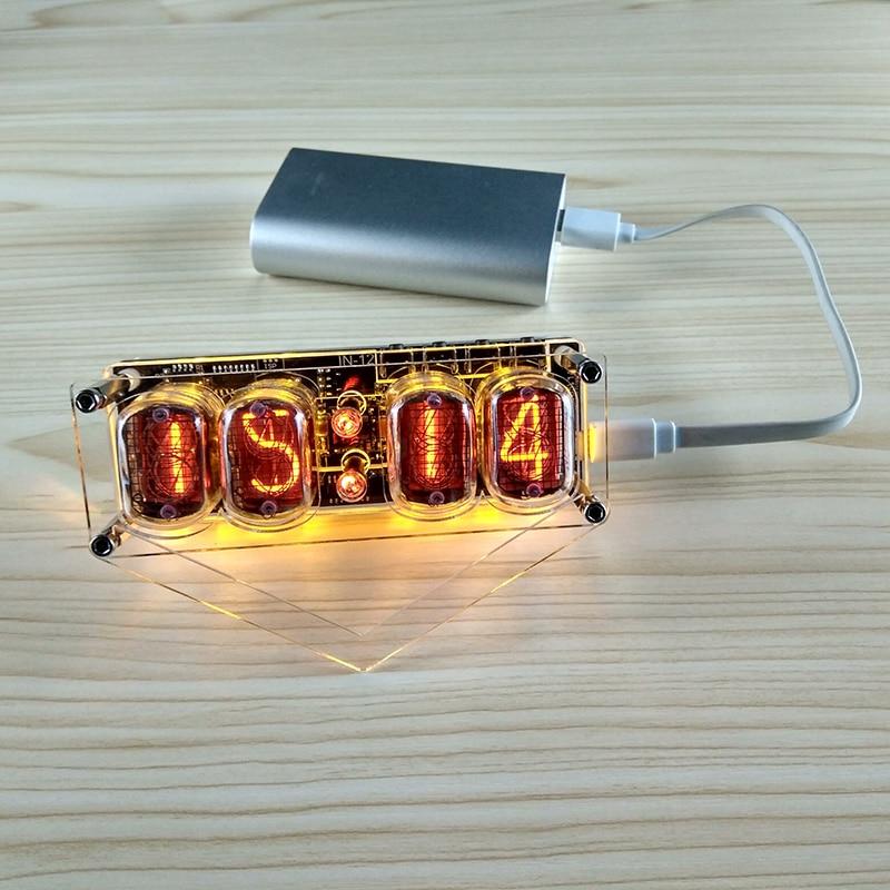 4-bit integrierte glow rohr uhr IN-12A IN-12B uhr glow rohr Bunte LED DS3231 nixieröhren uhr Magie Eye LED hintergrundbeleuchtung