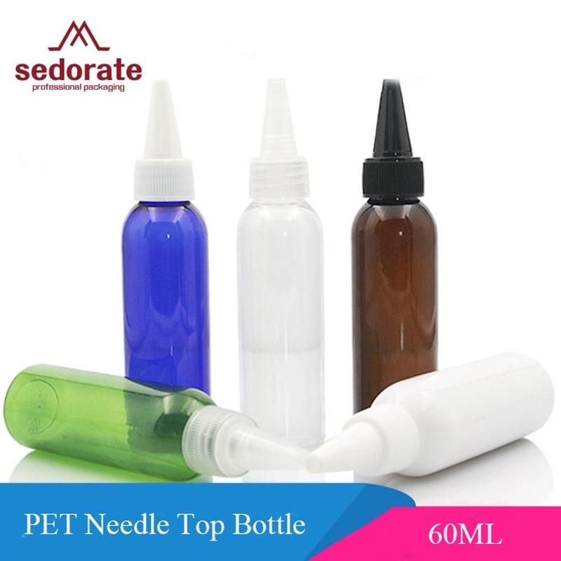 Sedorate 20 pçs/lote Vazio Garrafas Reutilizáveis Para Maquiagem Essencial Óleo Garrafa de Plástico PET 60 ML Agulha JX114-1 Recipiente Superior