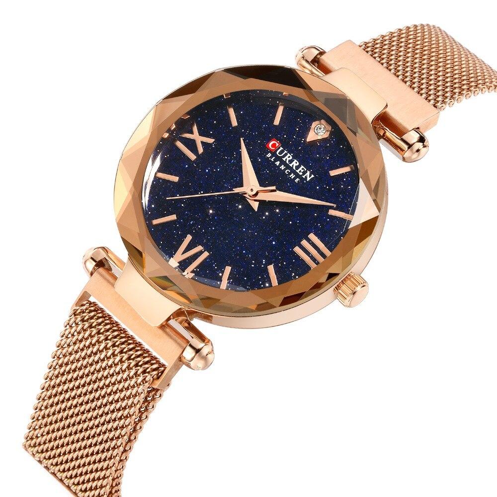 Reloj de pulsera CURREN 9063 de moda con malla de plata y oro, creativo reloj de pulsera de mármol, relojes informales de cuarzo para mujer, reloj femenino watc de regalo