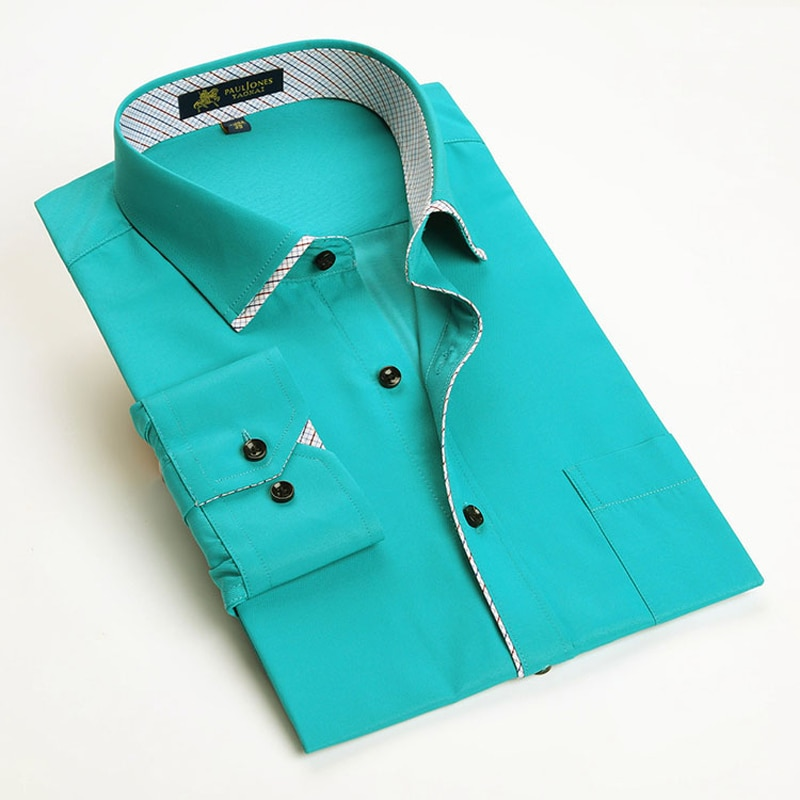 PAULJONES Fashon, nueva camisa de manga larga de fibra de bambú para hombre, camisa Formal informal de negocios para hombre