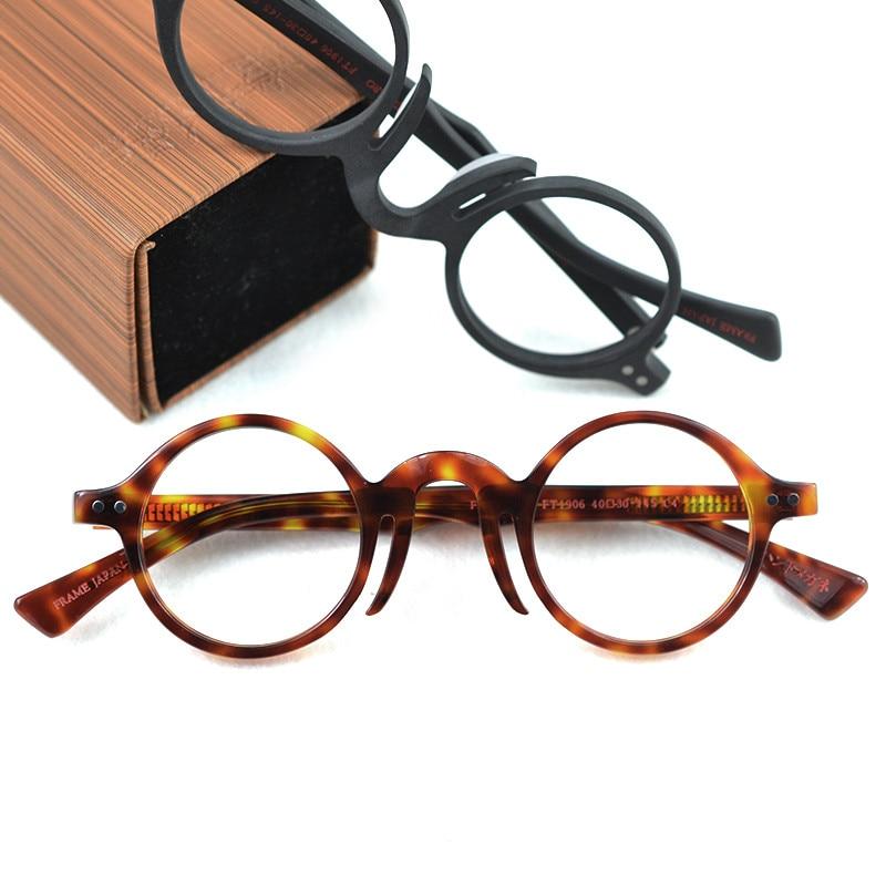 Gafas de acetato redondas de color ámbar hechas a mano para hombre, Marcos Retro de madera para miopía, gafas ópticas limpias transparentes para mujer