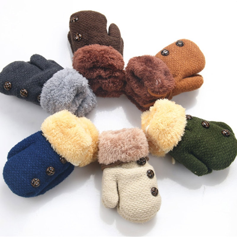 New Children's Mittens Winter Wool Baby Knitted Gloves Children Warm Rope Baby Mittens For Children 1-3 years old