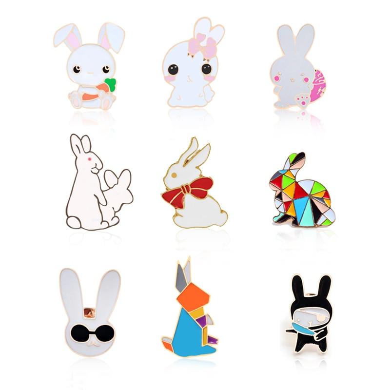 Evil Cute White Rabbits Pins Animal Bunny Enamel Metal Buckle Brooch For Women Jewelry Men Coat Shirt Bag Collar Lapel Pin Badge
