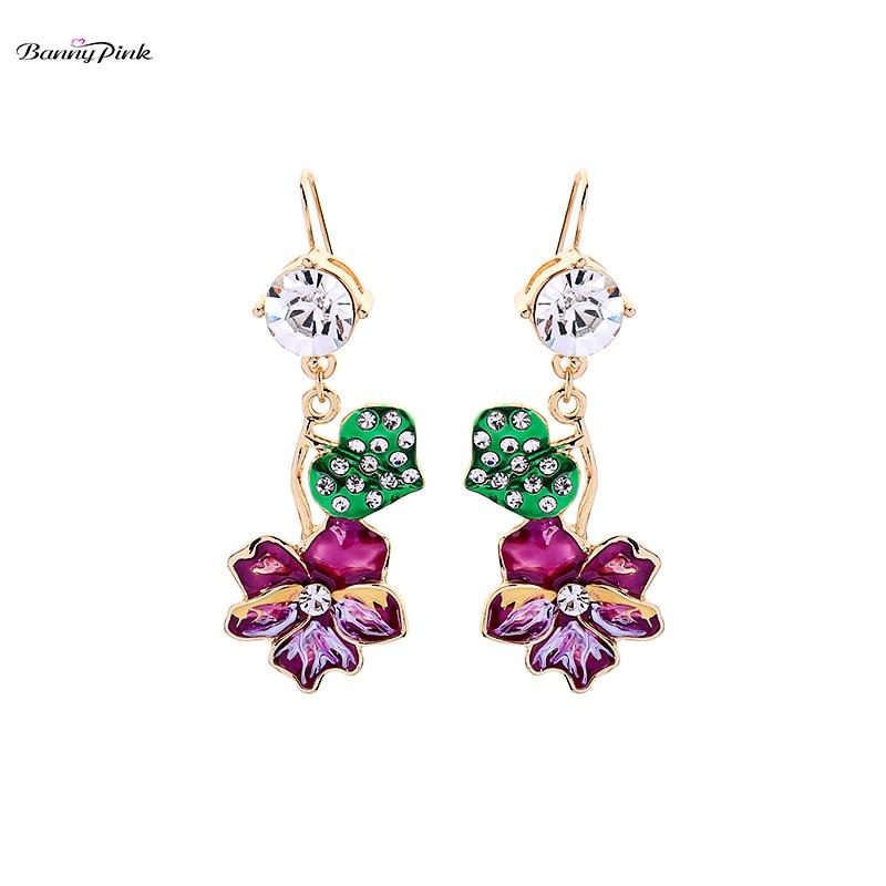 Banny Rosa lindo esmalte flor cuelga pendientes para las mujeres cristal elegante corazón gota pendientes Fairy colorido hecho a mano pendientes Brinco