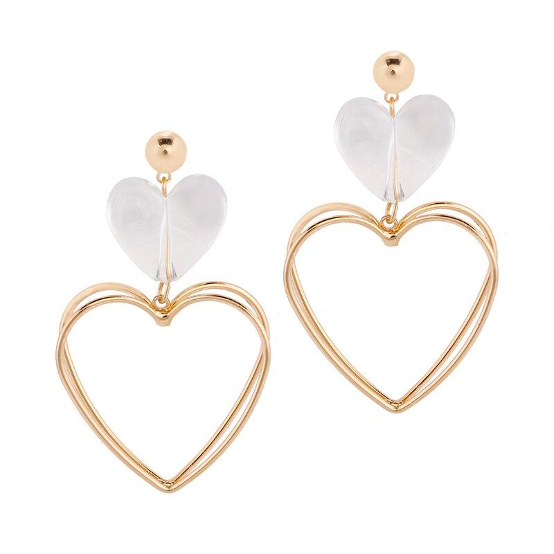 AENSOA 2019 New Design Alloy Double Heart Large Earrings Exaggerated Clear Acrylic Peach Heart Dangle Drop Earrings For Women